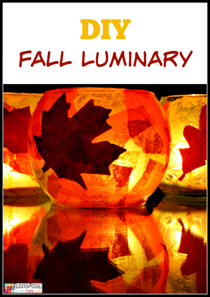 DIY Fall (Autumn) Craft Your kids will love creating these beautiful fall luminaries. A simple and frugal DIY craft for all ages. Our step-by-step tutorial walks you through how to turn a plain jar or globe into a gorgeous autumn decor piece.