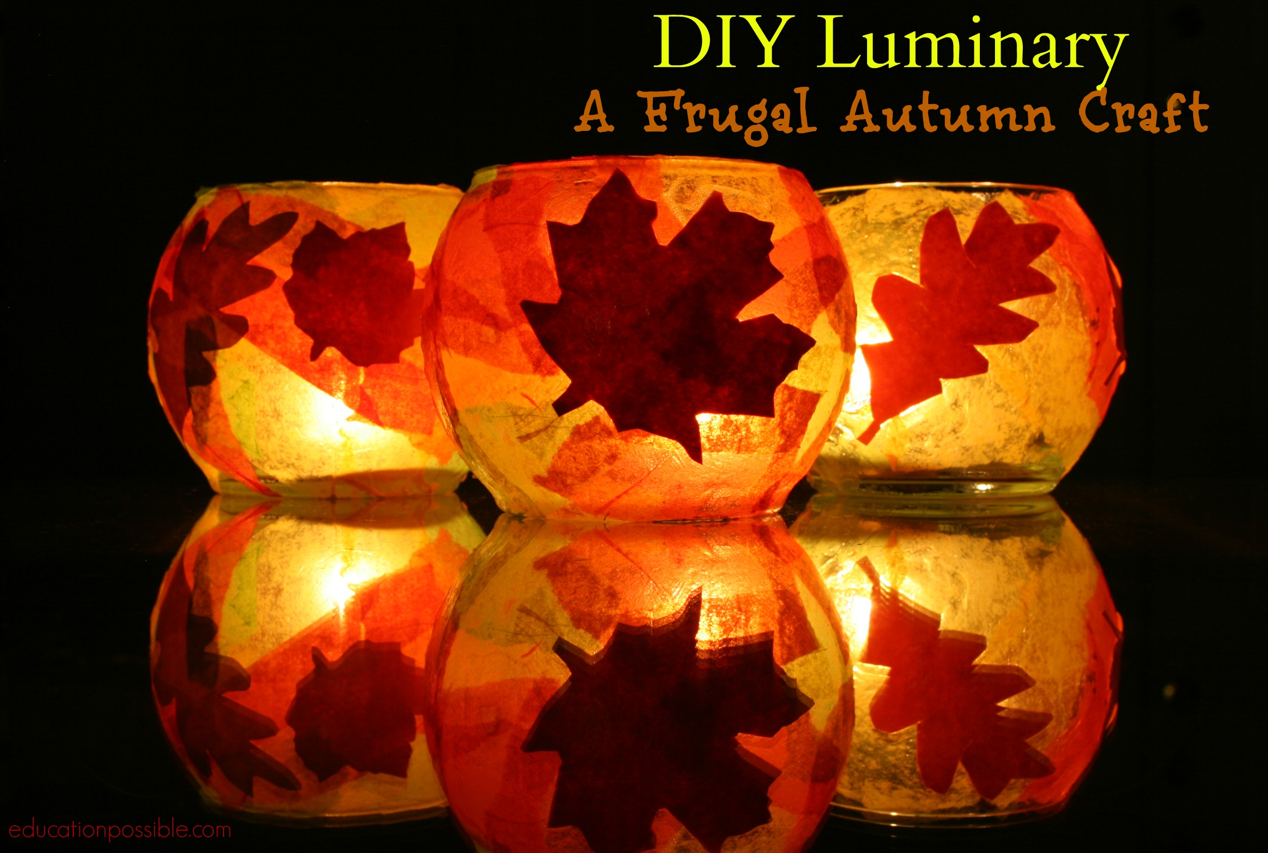 Diy luminary a frugal autumn craft for Fall decorating ideas with construction paper