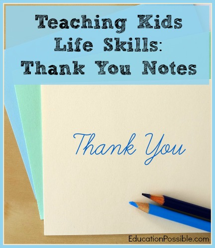 Teaching Life Skills: Thank You Notes