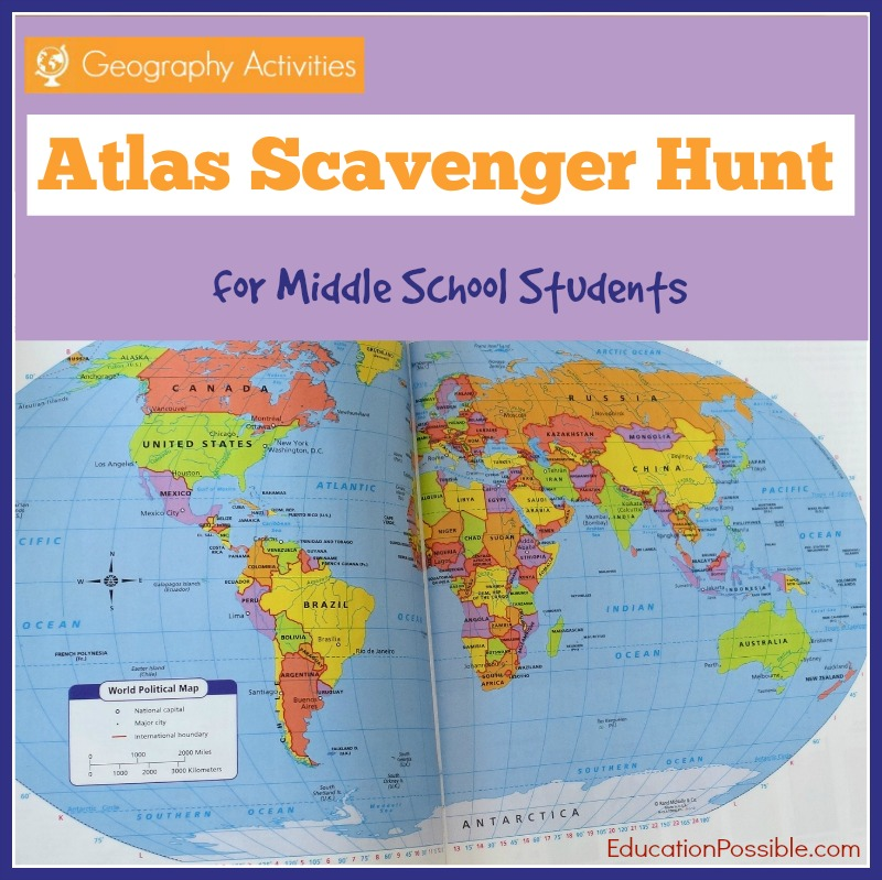 Geography Activities World Atlas Scavenger Hunt