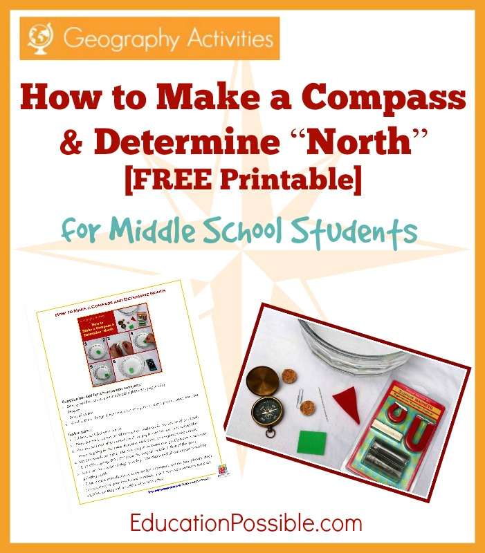 As a part of your middle school geography lessons, teach your children how to make a compass using materials found around the house with this printable.