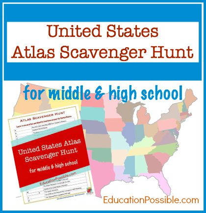Perfect tool for helping middle school students learn how to use an atlas. United States Atlas Scavenger Hunt