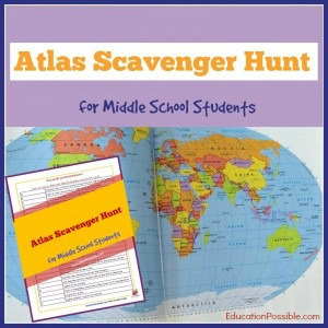 Middle schoolers learn how to use an atlas and travel the world with this Atlas Scavenger Hunt.