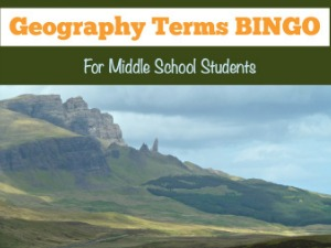 Geography Activities: Geography Terms BINGO
