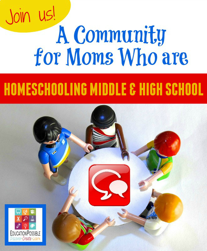 JOIN US!  A Community for Moms Who Are Homeschooling Middle & High School