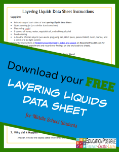 Middle School Chemistry: Solids and Liquids {FREE Printable} @Education Possible