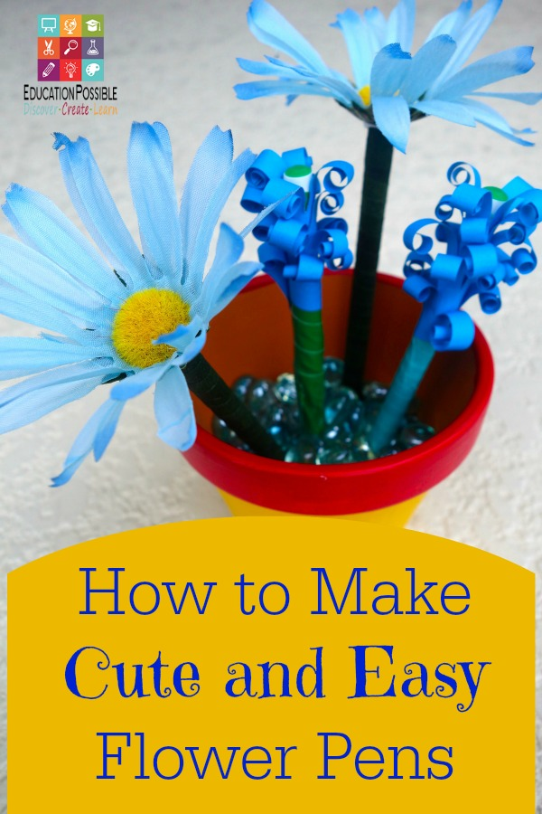 How to make cute and easy flower pens - Education Possible