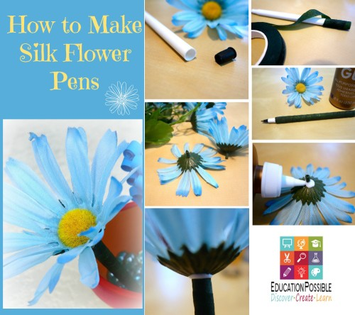 How to Make Easy Silk Flower Pens - Education Possible