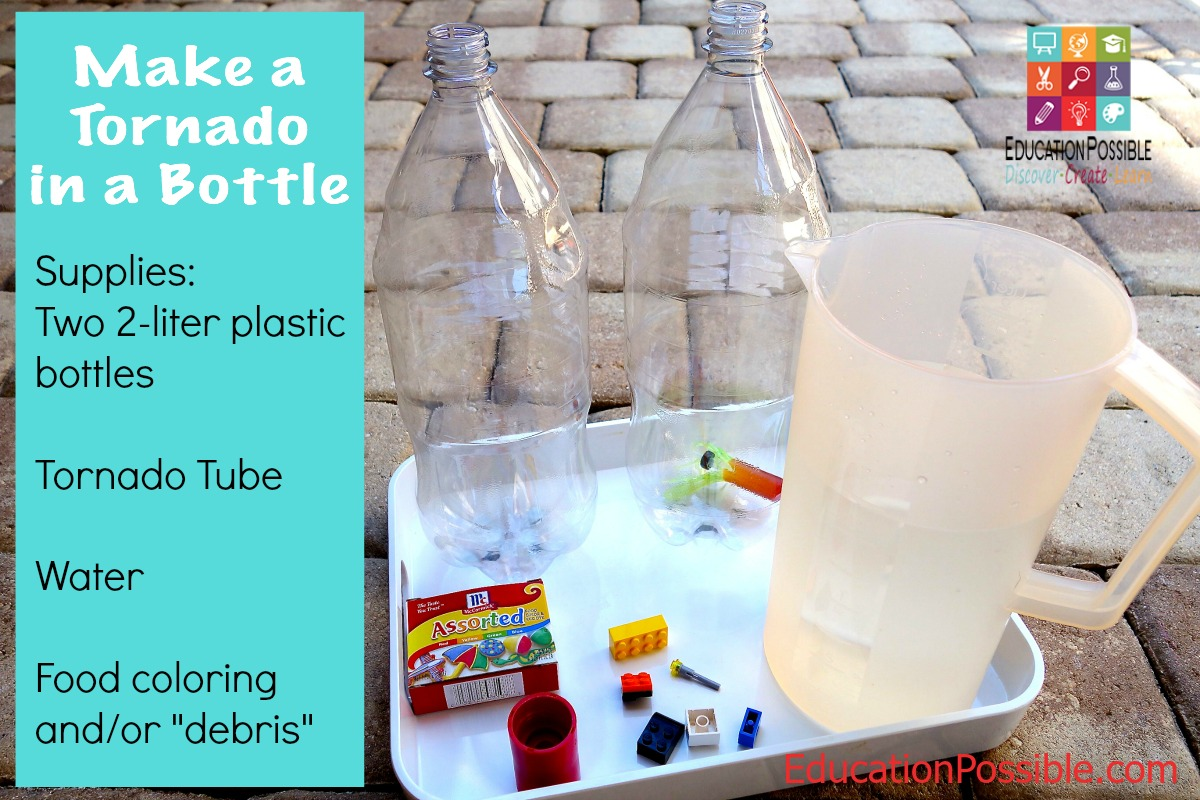 Make a Tornado in a Bottle Supplies - Education Possible