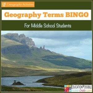 Geography Terms BINGO - Education Possible