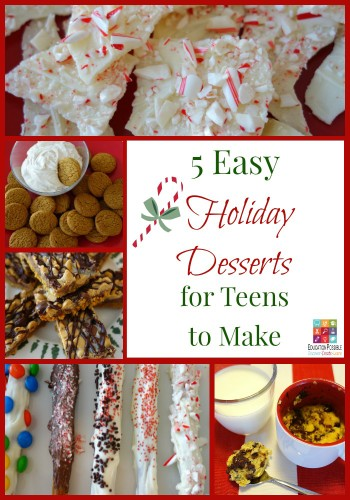 5 Easy Holiday Desserts for Teens to Make (and EAT!) - Education Possible If you need to make a dessert to take to a family gathering or get-together with friends, why not delegate the task to your teen. The holidays are the perfect time to get your teens in the kitchen and let them put their creativity to work! Easy recipe idea and perfect for holiday gifts that your older kids can create and give to their friends.