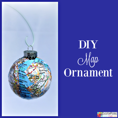 DIY Map Ornament. 5 Homemade Christmas Ornaments Teens will want to Make. This season, add these to your ornament collection – they're all teen friendly, cost effective and will take little time to complete. DIY crafts - a great idea for gifts your middle school kids can create.