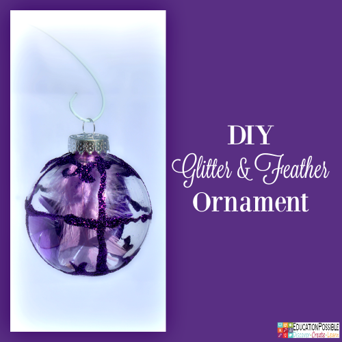 DIY Glitter & Feather Ornament. 5 Homemade Christmas Ornaments Teens will want to Make. This season, add these to your ornament collection – they're all teen friendly, cost effective and will take little time to complete. DIY crafts - a great idea for gifts your middle school kids can create.