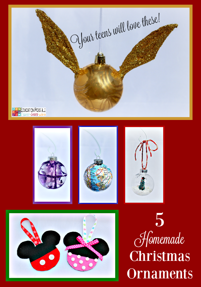 5 Homemade Christmas Ornaments Teens will want to Make. This season, add these to your ornament collection – they're all teen friendly, cost effective and will take little time to complete. DIY crafts - a great idea for gifts your middle school kids can create.