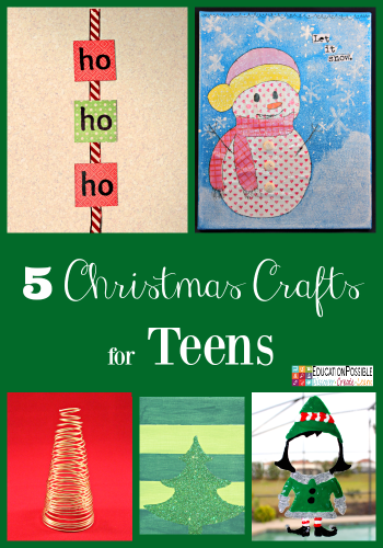 5 DIY Christmas Crafts for Teens that they'll Enjoy Creating These crafts are teen tested - they were all chosen and created by my middle schoolers. Hopefully, you have as much fun working together to make these decorations as we did. Creative projects - great DIY craft idea to do with your older kids - and perfect for gifts if you want to make extras.