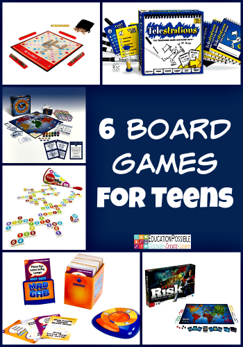 6 Board Games that will Keep your Teen's Interest Board games are a great way for families to spend time together. Just because your kids are growing up, doesn't mean you have to stop playing them. Instead, get some new games that will challenge your teen and breathe new life into your family time. Here are six that are perfect older kids. Great gifts and fun activities.