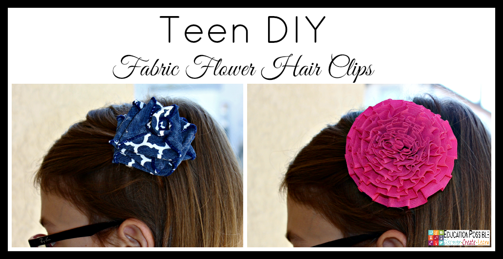 Teen DIY Fabric Flower Hair Clips. Middle School Girls: Fast and Easy DIY Gifts to Make for your Friends. Perfect for Christmas, birthdays, or just because. A bracelet, hair flowers, wall art, cord wrappers, and an earring display. Teens and tweens will love making these DIY crafts - a great idea for gifts.