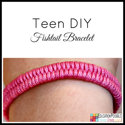 Teen DIY Fishtail Bracelet. Middle School Girls: Fast and Easy DIY Gifts to Make for your Friends. Perfect for Christmas, birthdays, or just because. A bracelet, hair flowers, wall art, cord wrappers, and an earring display. Teens and tweens will love making these DIY crafts - a great idea for gifts.