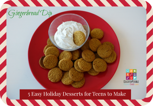 Gingersnap Dip - Education Possible 5 Easy Holiday Desserts for Teens to Make (and EAT!) - Education Possible If you need to make a dessert to take to a family gathering or get-together with friends, why not delegate the task to your teen. The holidays are the perfect time to get your teens in the kitchen and let them put their creativity to work! Easy recipe idea and perfect for holiday gifts that your older kids can create and give to their friends.