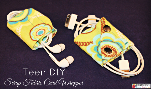 Scrap Fabric Cord Wrapper. Middle School Girls: Fast and Easy DIY Gifts to Make for your Friends. Perfect for Christmas, birthdays, or just because. A bracelet, hair flowers, wall art, cord wrappers, and an earring display. Teens and tweens will love making these DIY crafts - a great idea for gifts.