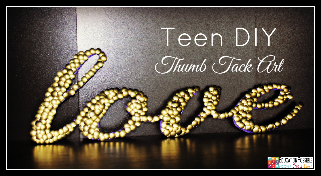 Teen DIY Thumb Tack Art. Middle School Girls: Fast and Easy DIY Gifts to Make for your Friends. Perfect for Christmas, birthdays, or just because. A bracelet, hair flowers, wall art, cord wrappers, and an earring display. Teens and tweens will love making these DIY crafts - a great idea for gifts.