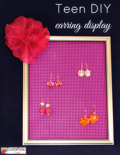 Teen DIY Earring Display. Middle School Girls: Fast and Easy DIY Gifts to Make for your Friends. Perfect for Christmas, birthdays, or just because. A bracelet, hair flowers, wall art, cord wrappers, and an earring display. Teens and tweens will love making these DIY crafts - a great idea for gifts.