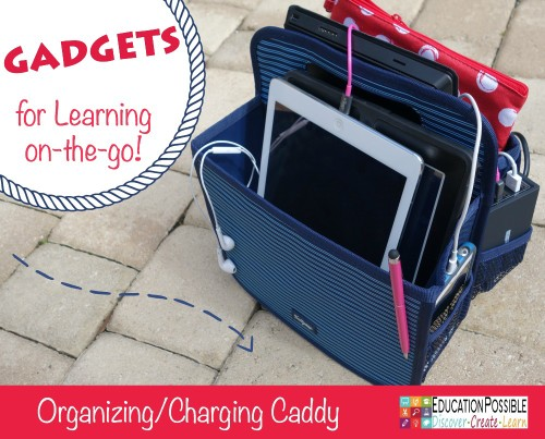 Organizing/Charging Caddy. 10 Inexpensive Gadgets for Learning on the go - Education Possible. Over the years my older kids have discovered a few clever and inexpensive gadgets they can't live without. If your teen is using electronics to help with school work, here are our top 10 electronic gadgets for learning on-the-go! Great ideas for gifts for the teens in your life!!