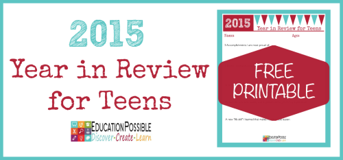 2015 Year in Review FREE Printable - Education Possible