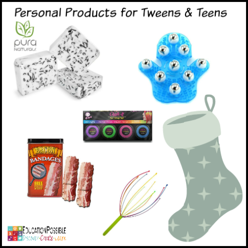 50+ Cool Stocking Stuffer Ideas for Tweens and Teens  Struggling with what to put in your older kid's stocking this year? I've done some investigating and made this fun list of small gifts I think middle schoolers will love.  Small gift ideas for teens at Christmas - boys and girls.