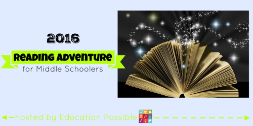 The 2016 Reading Adventure for Middle Schoolers - FREE Printable To take advantage of this new year, Susan and I want you and your middle school students to join us on a great reading adventure. Every month, let your tween/teen choose one of the 12 different types of books, then work together find an appropriate title for them to read. Every month we'll be sharing our book selections and our subscribers will cool tools to go along with the reading challenge.