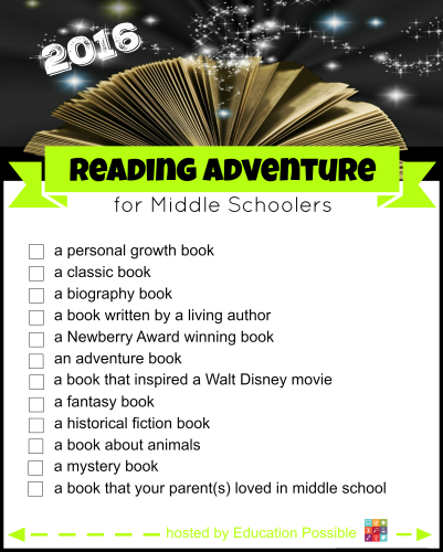 The 2016 Reading Adventure for Middle Schoolers – FREE Printable