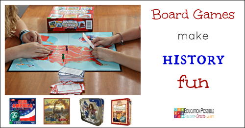 Board Games are a Simple Way to Make American History Fun & Interesting  There are lots of quality educational board games out there, so it's easy to find one to fit most school subjects.  One of my favorite places to use board games is in history. There are a lot of names, dates, and facts that middle school kids need to learn. Games are a fun way to teach this information, as well as to do some review.  It's a great activity idea for tweens and teens.
