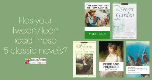 Challenge Middle Schoolers with these 5 Excellent Classics For our second month of our 2016 Reading Adventure, I've decided to focus on the classics. I began introducing classic books into our home school when they were in elementary school. Now my tween and teen have a real appreciation for them.