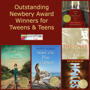 Newbery Award winners encompass a wide variety of genres, so chances are that your tween/teen will find a title that interests them. Choosing a couple of books that won this award over the past decades is a quick way to find some quality literature. Start with this guide. The books listed are full of action, adventure, and personal choices. Perfect for middle school.