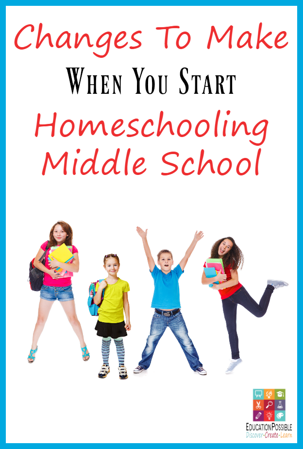 As a homeschooling mom, I had no idea what I would have to do differently when my daughter started 6th grade. Luckily, I didn't have to make many changes when I started homeschooling middle school, but I did make a few. It's definitely different teaching older kdis, but you can still have a lot of fun, without turning your whole family life upside down. Here are 3 changes I made to our home school when my kids moved from elementary school to middle school.
