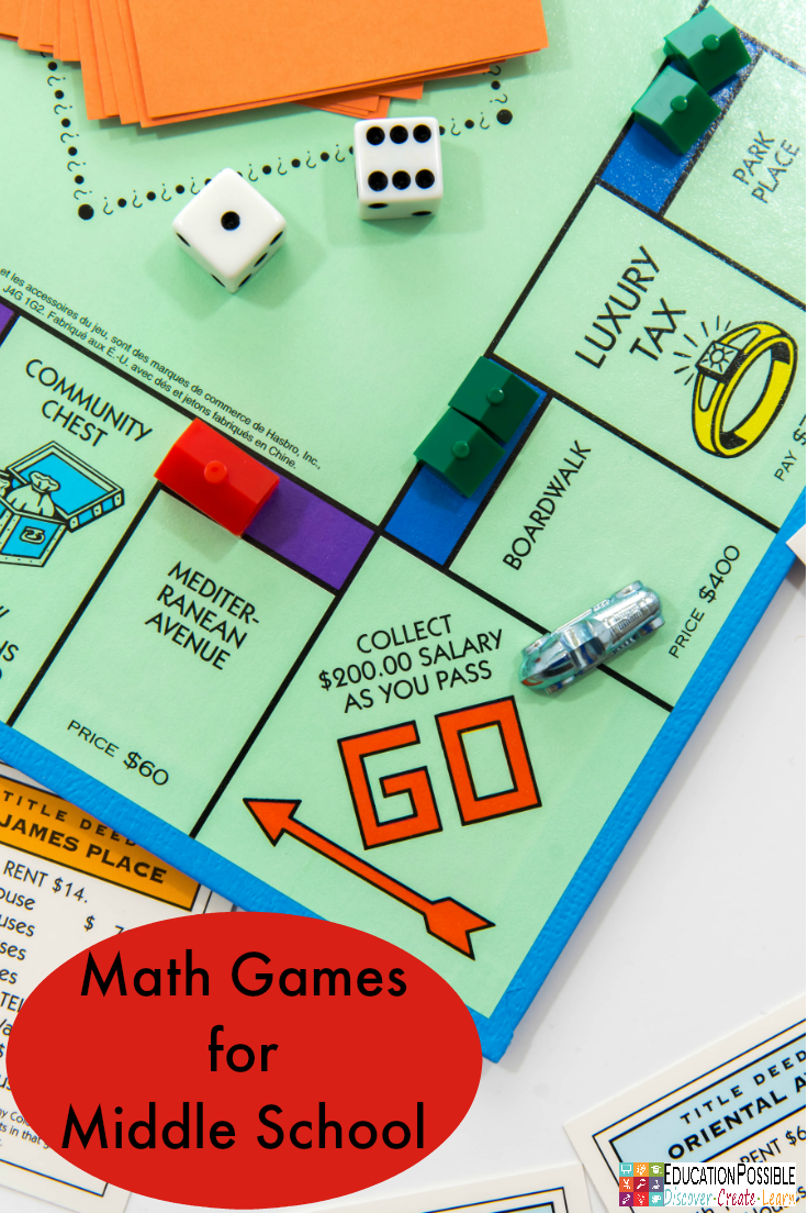If you're teaching math to older kids, add activities to your lesson plans that will get them more involved, like math games for middle school. Hands-on activities (instead of just textbook work) are a wonderful way to give your student real world application experience, while giving them a fun way to master their facts. I use board games, dice games, and card games when I can.