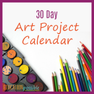 Art Project Calendar 30 days of art projects for middle school