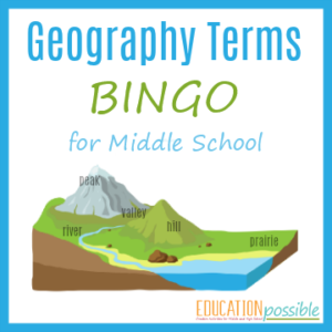 Interested in geography games for middle school? This Geography Terms BINGO is the perfect printable for you to use in your home school.