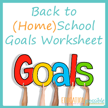 Back to Home School Goals Worksheet for Tweens and Teens.