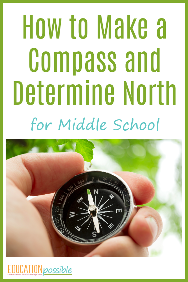 Hands on geography activity for teens - making a DIY compass and determining North.
