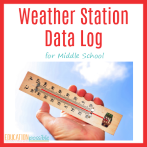 After you build your DIY weather station, keep track of the weather with this weather station data log. Middle School geography.