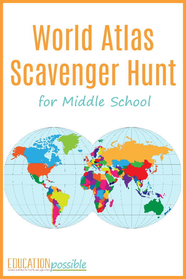 While you're studying middle school geography, use this World Atlas Scavenger Hunt as one of your hands-on activities.